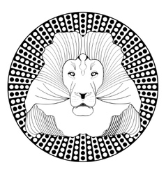 Lion head patterned symmetric animal drawing on vector image vector image