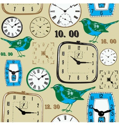 Retro birds Clocks Pattern vector image vector image