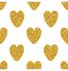 Seamless background with golden hearts vector