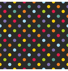 Seamless dark pattern with colorful polka dots vector image