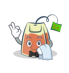 Waiter tea bag character cartoon vector