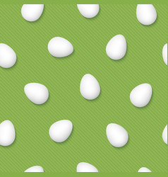 white easter eggs on grenery pinstripe background vector image vector image