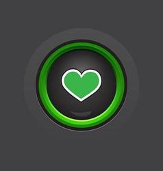 dark glossy circle heart button vector image