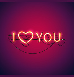 i love you neon sign vector image vector image