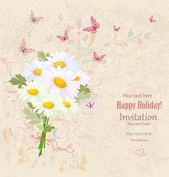 lovely bouquet of fresh daisies with flying vector image vector image