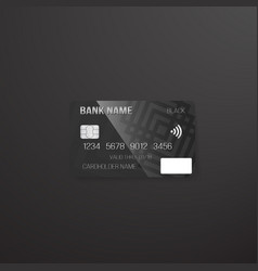 photorealistic credit card on dark background vector image