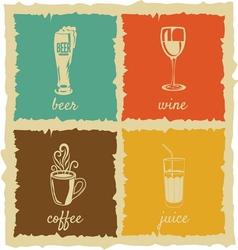 Set of Vintage cups Labels vector image