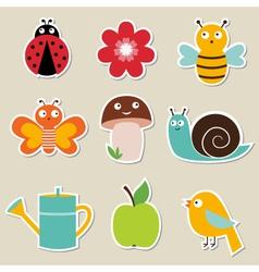 summer garden stickers set vector image vector image