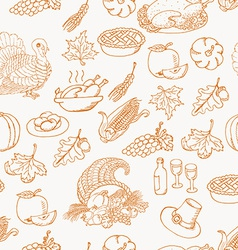 Thanksgiving seamless pattern sketch doodle on vector image