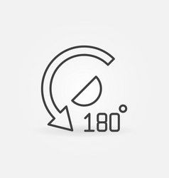 180 degrees angle outline icon - concept vector