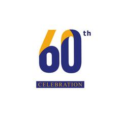 60 th anniversary celebration orange blue vector