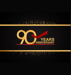 90 years anniversary logotype with golden color vector