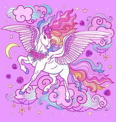 a beautiful unicorn with a long mane on a purple vector image