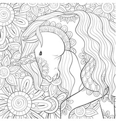 Adult coloring bookpage a cute unicorn on the vector