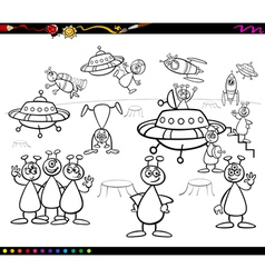 aliens cartoon coloring book vector image
