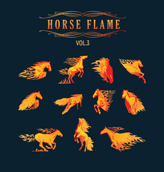 animal flame set horse vector image