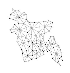 Bangladesh map of polygonal mosaic lines network vector