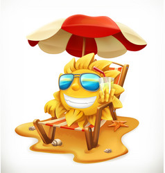 Beach umbrella and sun 3d icon vector