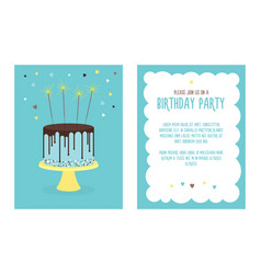 Birthday invitation card with cake vector