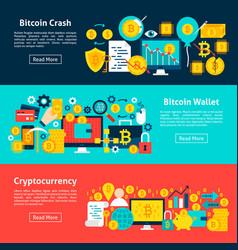 bitcoin horizontal banners vector image