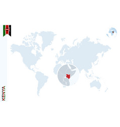 blue world map with magnifying on kenya vector image