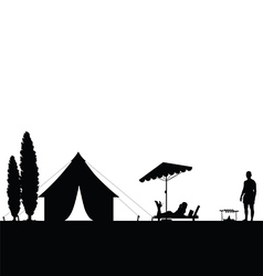 camping in nature couple silhouette vector image
