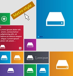CD-ROM icon sign Metro style buttons Modern vector