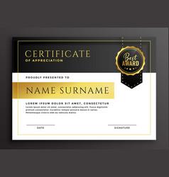 Certificate template in golden luxury style vector