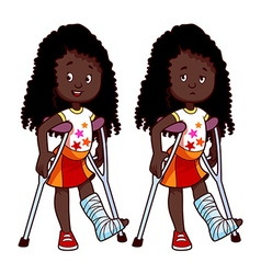 Cheerful and sad African American girl with a vector image