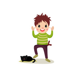cheerful teenager going to step on cat s tail bad vector image