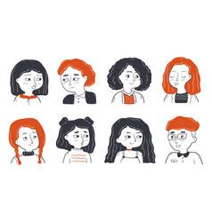 childhood friendship portrait set concept vector image