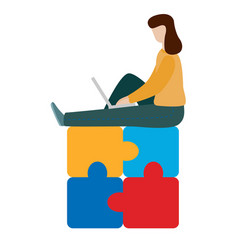 consept working woman sitting with a laptop vector image