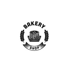 Cupcake and wheat vintage bakery logo designs vector