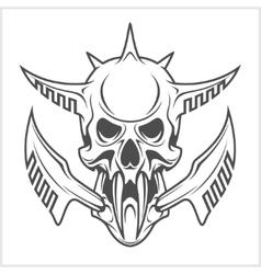 Cyber punk robot skull vector