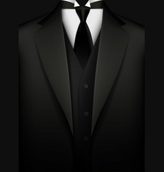 Elegant black tuxedo with tie vip concept vector