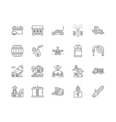 farming services line icons signs set vector image