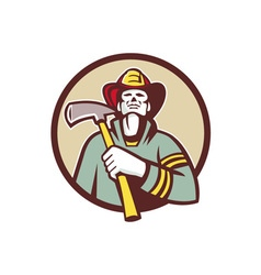 Fireman firefighter holding fire axe circle retro vector