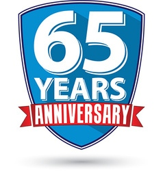 Flat design 65 years anniversary label with red vector image