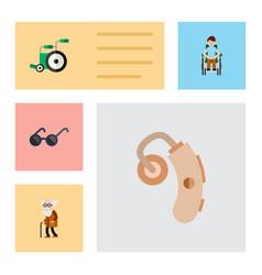 flat icon cripple set of equipment audiology vector image