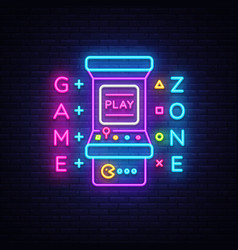 game zone logo neon game room neon sign vector image