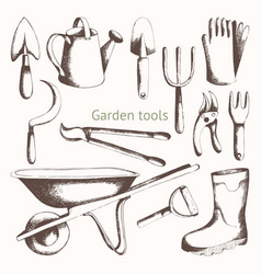 Gardening tools hand drawing set vector