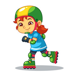 Girl excersicing with her rollerblades vector