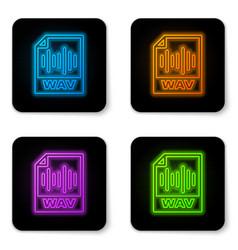 Glowing neon wav file document icon download wav vector