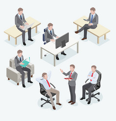 group business man isometric design vector image