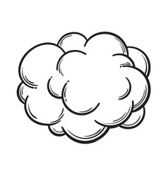Hand drawn fog smoke cloud isolated comic vector