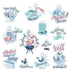 Hand drawn watercolor signs and sticker of seafood vector
