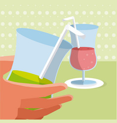Hand grabbing a drink vector