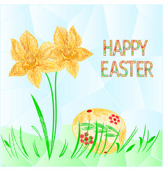 Happy easter easter egg with daffodil and grass vector