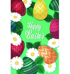 happy easter template with colorful eggs and vector image