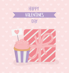 happy valentines day wrapped gift box and cupcake vector image